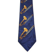 Trombone Tie Navy Blue Brass Band Director Music Teacher Musician Instru... - $14.94