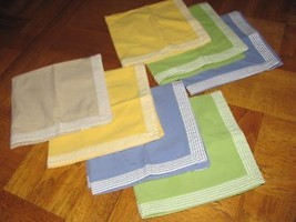 VINTAGE 7 WORLD MARKET NAPKINS BEIGE-YELLOW-BLU... - $8.90
