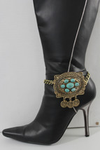 N Women Gold Boot Chain Anklet Bracelet Shoe Tuqruoise Blue Beads Moroccan Charm - $19.58