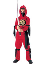 New Red Ninja boys costume size Medium 8-10 Rubies black gold dress up - $358,81 MXN