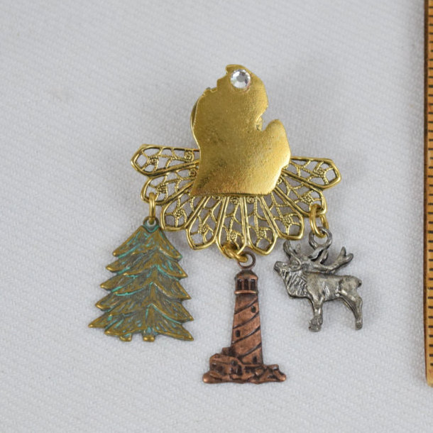 Primary image for Michigan Brooch Pin Moose Lighthouse Pine Tree Mitten Gold Tone Filigree Rhinest