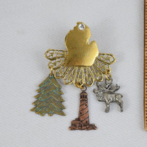 Michigan Brooch Pin Moose Lighthouse Pine Tree Mitten Gold Tone Filigree Rhinest - $16.99