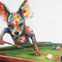 Hand-painted funny Dog Play Billiards modern abstract animal oil painting - $69.30