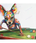 Hand-painted funny Dog Play Billiards modern abstract animal oil painting - $94.25 CAD