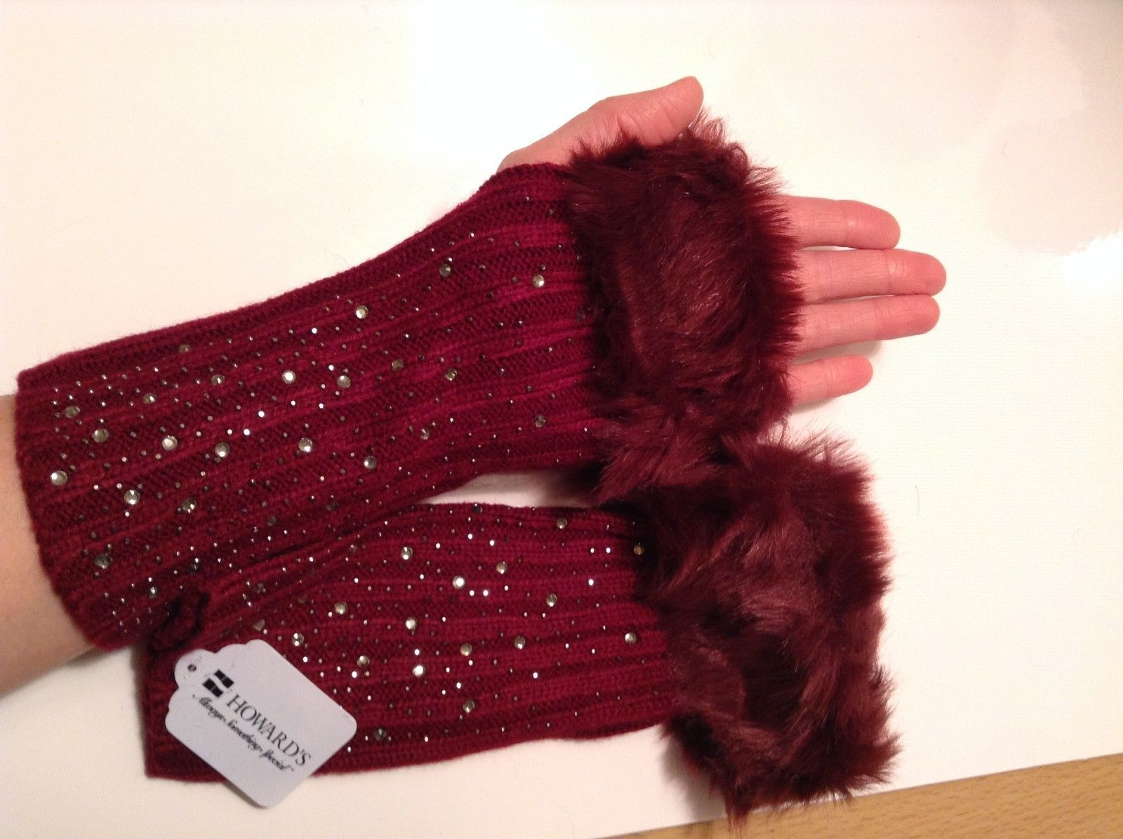 Fun SPARKLE snow knit finger less mittens fur color choice holiday gift