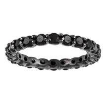 4.50 Carat Natural Black Diamond Full Eternity Wedding Band Ring 14K Bla... - $715.76