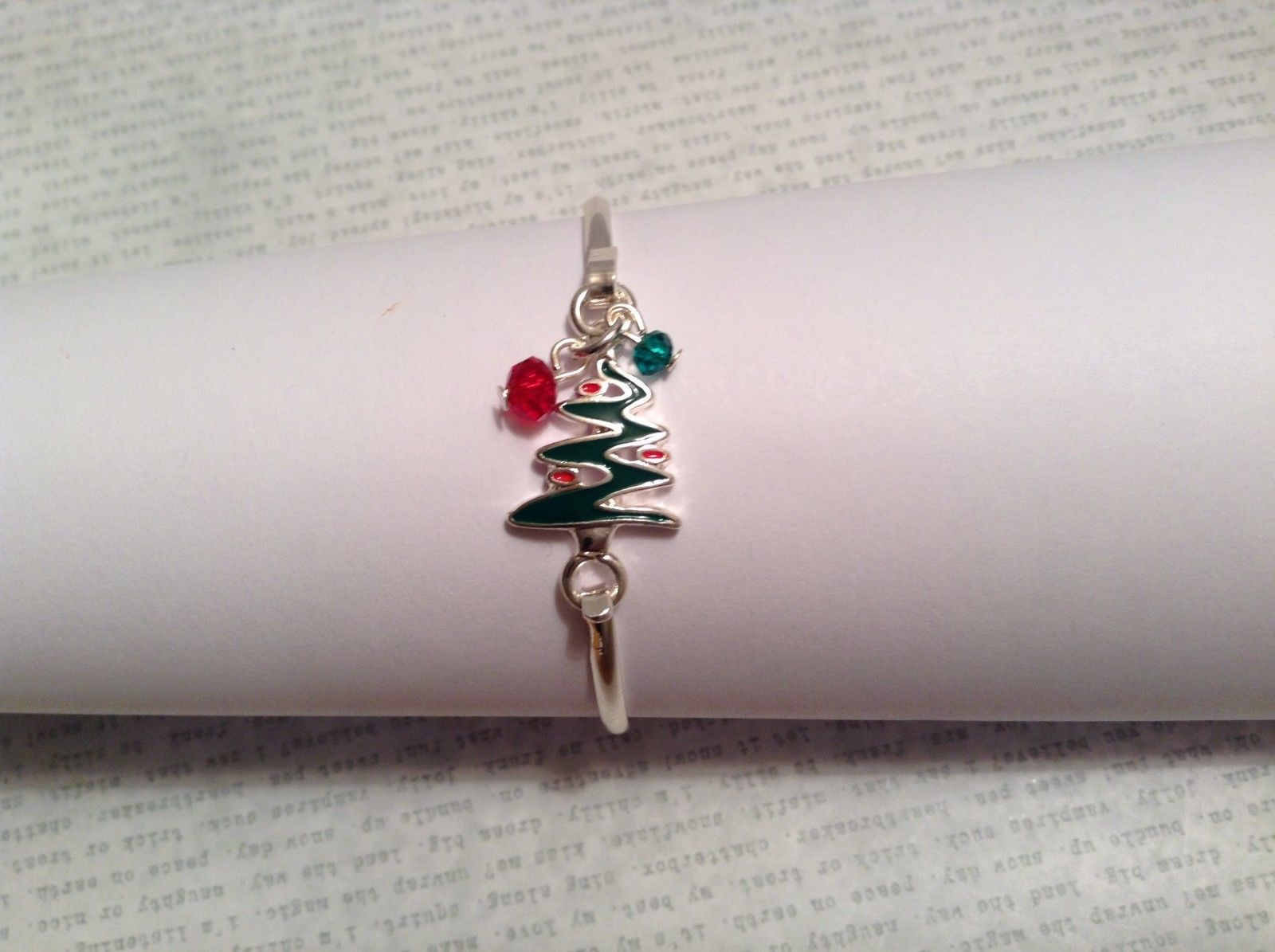 Fun Latch bangle bracelet choice Tree Snowman Angel Snowflake w red green beads