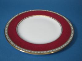 Wedgwood Ulander Powder Ruby Crescent Salad Plate Bone China Cream/Maroon  - $39.99
