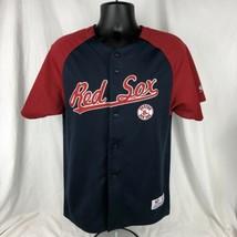 Red Sox Team Jersey MLB Boston Youth Large 14 True Fan Baseball Button Shirt - $19.79