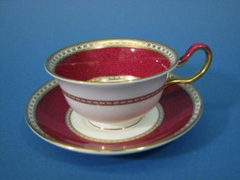 Wedgwood Ulander Powder Ruby Peony Cup & Saucer Bone China Cream/Maroon - $34.99