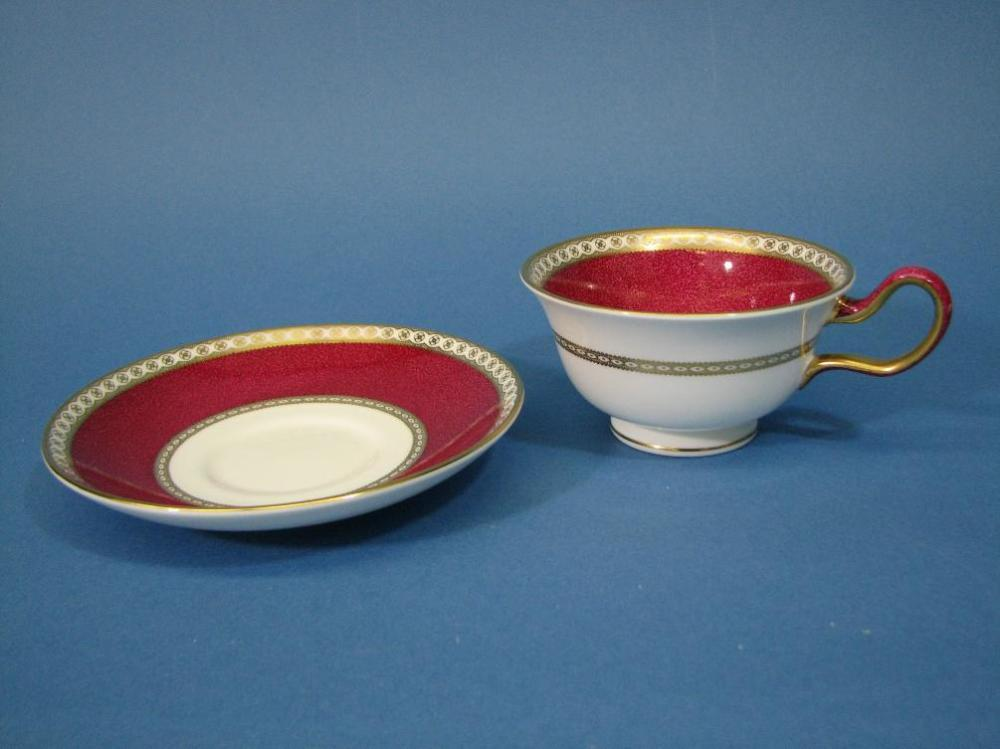 Wedgwood Ulander Powder Ruby Peony Cup & Saucer Bone China Cream/Maroon