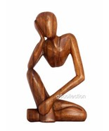 "12"" Wooden Abstract Sculpture Statue Hand Carved ""Thinking Man"" Gift Hom... - $39.99"