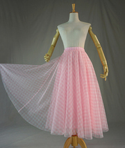 Light Blue Plaid Skirt Women High Waisted Long Plaid Skirt Tulle Skirt image 9