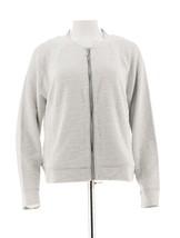 H Halston Lightweight Textured Knit Bomber Jacket White 10 NEW A288619 - $36.61