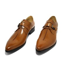 Handmade Men Brown Leather Monk Strap Buckle Shoes image 3