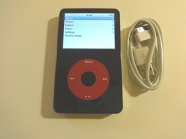 APPLE iPOD CLASSIC  5.5 GEN. BLACK/RED  CUStOM  THIN   80GB...WOLFSON CH... - $138.59