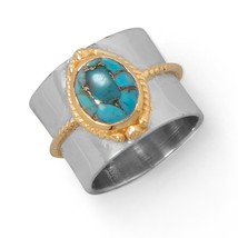 Two Tone Rope Edge Turquoise Ring - $68.97