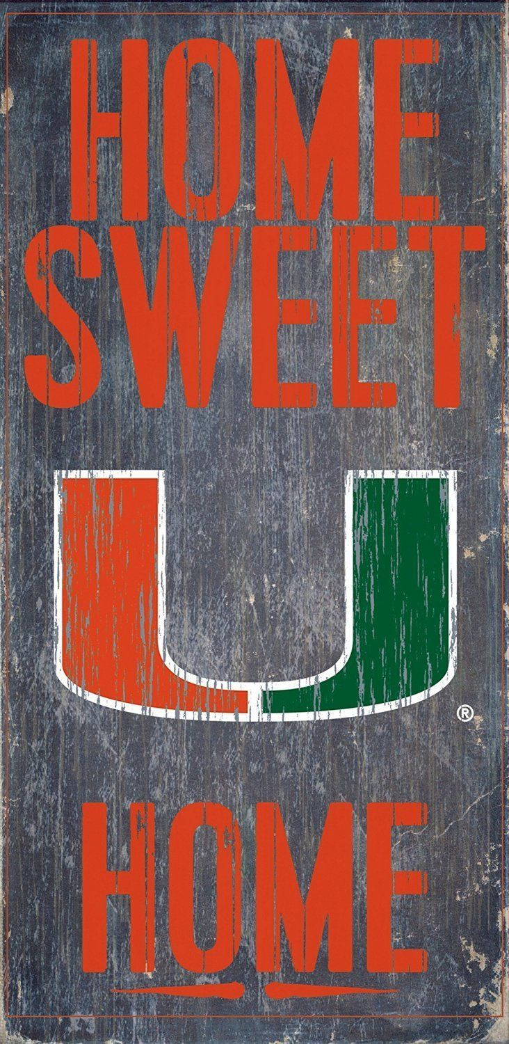 "MIAMI HURRICANES HOME SWEET HOME WOOD SIGN with ROPE 12"" X 6""  NCAA MAN CAVE!"