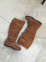 women's side zipper buckle 4 multi strips knit collar knee high boots - $34.99