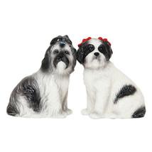 Shih Tzu Dogs Ceramic Magnetic Salt and Pepper Shaker Set Kitchen Decor - $12.86