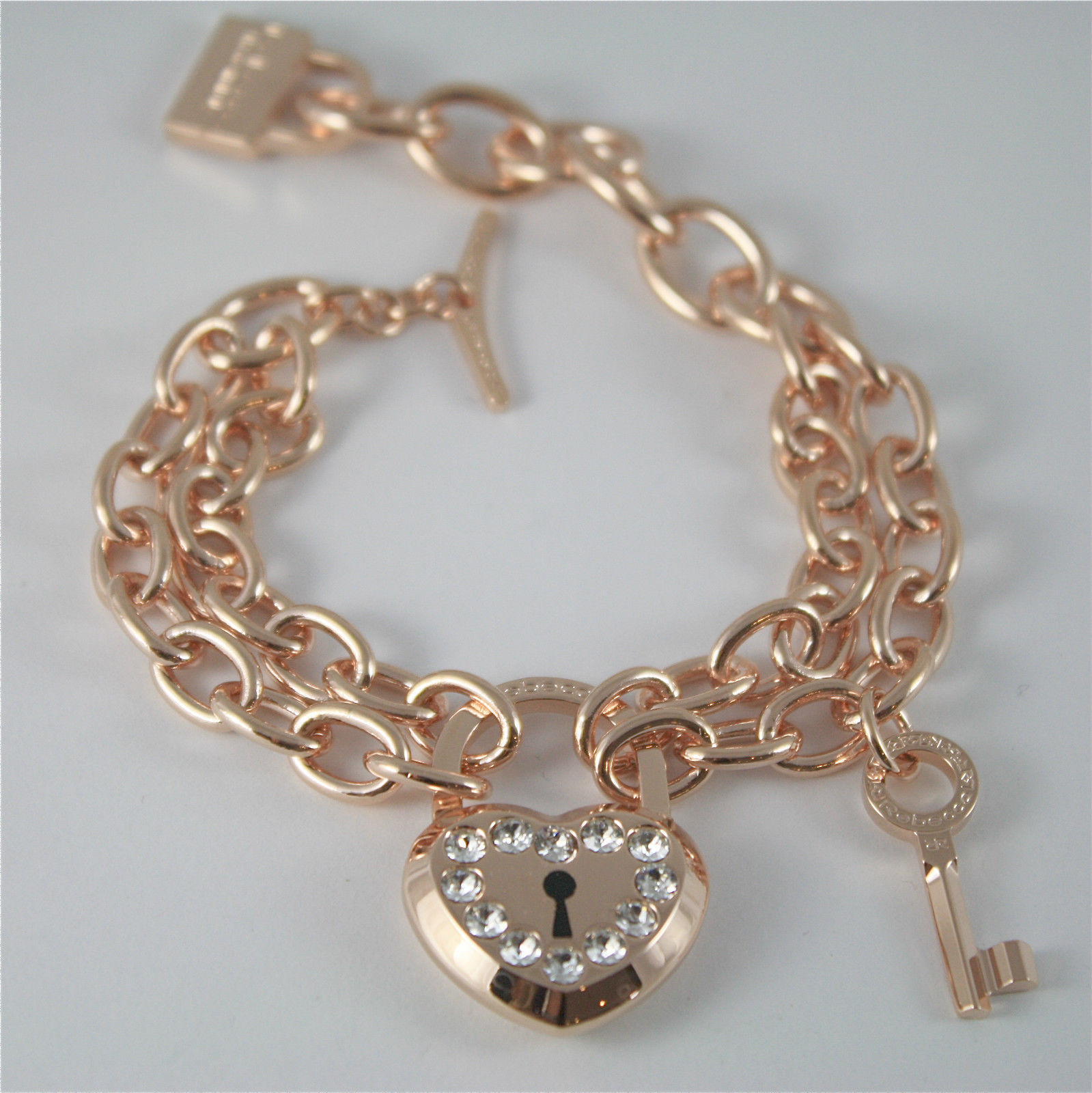 ROSE GOLD PLATED BRONZE REBECCA BRACELET LOVE LOCK BLLBRB26 MADE IN ITALY 7.87