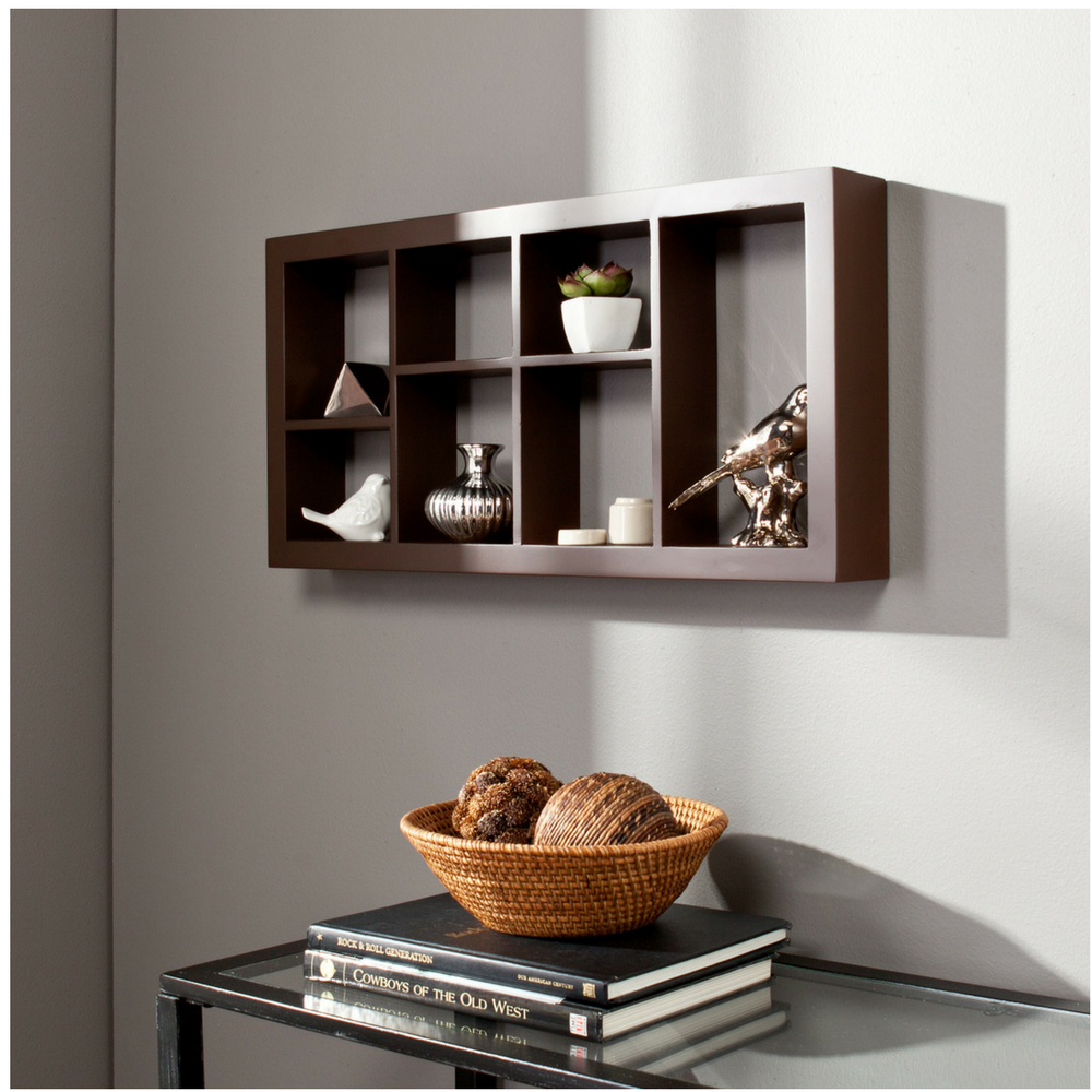 Decorative Wall Shelves Espresso : Display wall shelf floating decorative cube in espresso