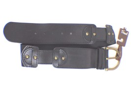 NWT Fossil Women's Belt Size M Wide Black Color Elastic/Leather MSRP $48.00 - $32.71
