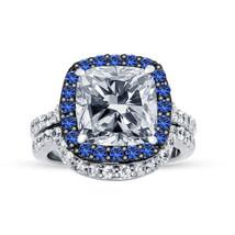 2CT Cushion Cut Diamond & Sapphire Womens Bridal Ring Set 925 Sterling S... - $95.99