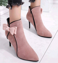 PB163 Cute Butterfly Matin booties, nubuck leather,  size 5-8.5, pink - $48.80