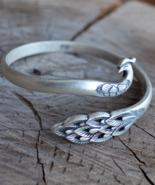 Peacock bracelet, sterling silver peacock bracelet, silver bracelet, B227 - $139.99