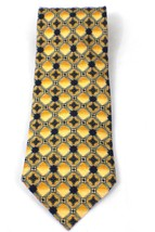 New Club Room Men's Tie Necktie 100% Silk Yellow Base  Executive Style - $9.49