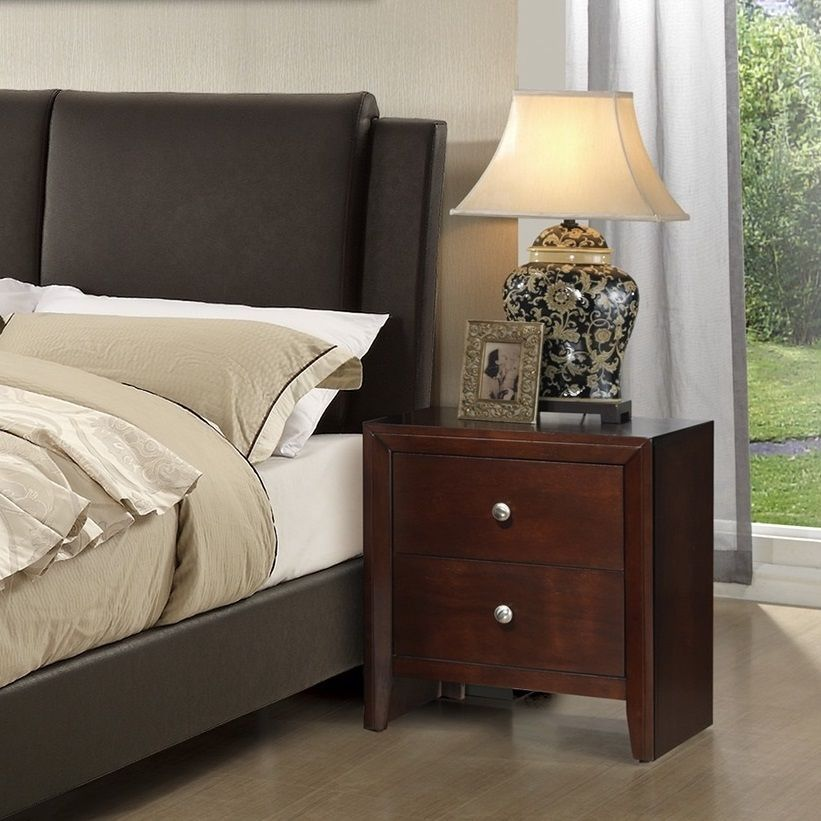 Cal King Size Bed Dresser Mirror Nightstand Modern 4pc Bedroom Set Brown Leather Bedroom Sets