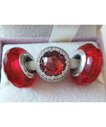 925 Sterling Silver Charms Beads Gift Set Fit European Bracelet-Shining Red - $28.98