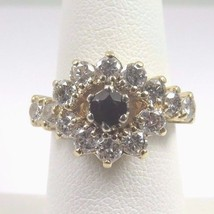 14k Yellow Gold Women's Diamond Cocktail Ring With Garnet Jan Birthstone... - $649.59
