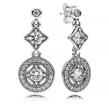 925 Sterling Silver Vintage Allure with Clear Cz Drop Earrings QJCB998 - $25.99