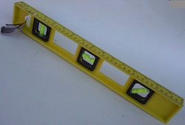 "16"" (40 cm) BUBBLE LEVEL YELLOW PLASTIC Ruled In Both Inches & Centimeters - $3.95"