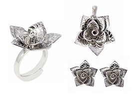 Rose Flower 925 Sterling Silver Ring Earring Pendant Jewelry Set For Womens - $60.76