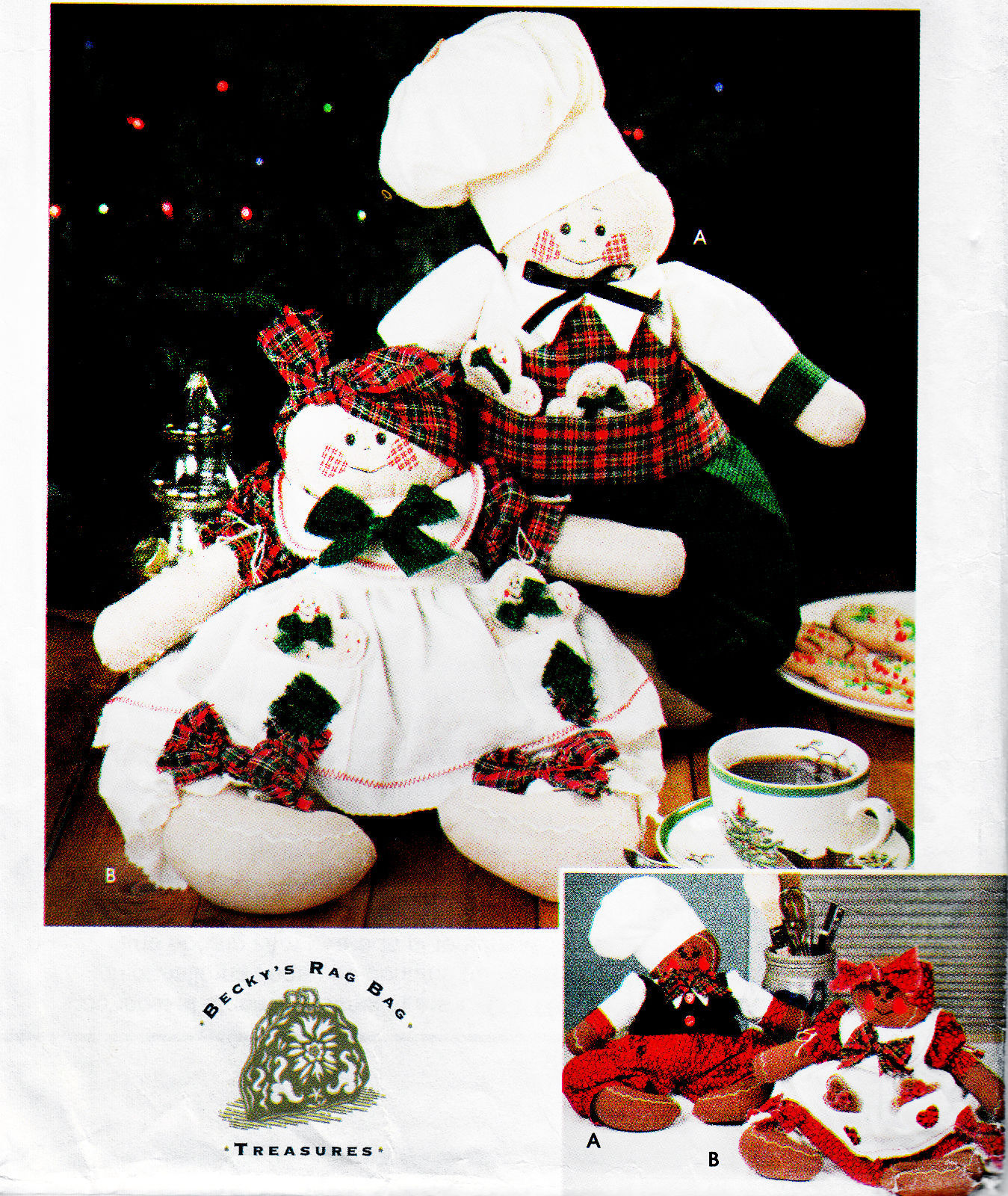 Primary image for 4 GINGERBREAD DRESSED GIRL & BOY DOLLS OOP SIMPLICITY 9880 CRAFT SEWING PATTERN