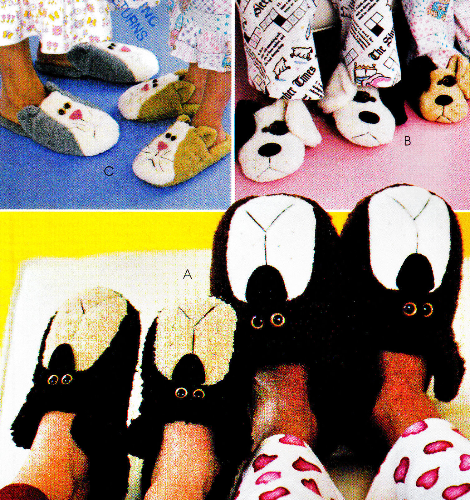 Primary image for SLIPPERS 4 KIDS & ADULTS CAT, BEARS & DOG OOP MCCALL'S 3471 PATTERN MINT UNCUT