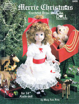 "MERRIE CHRISTMAS CROCHET & LACE 14""  DOLL DRESS PATTERN 8409 AMERICAN SC... - $8.99"