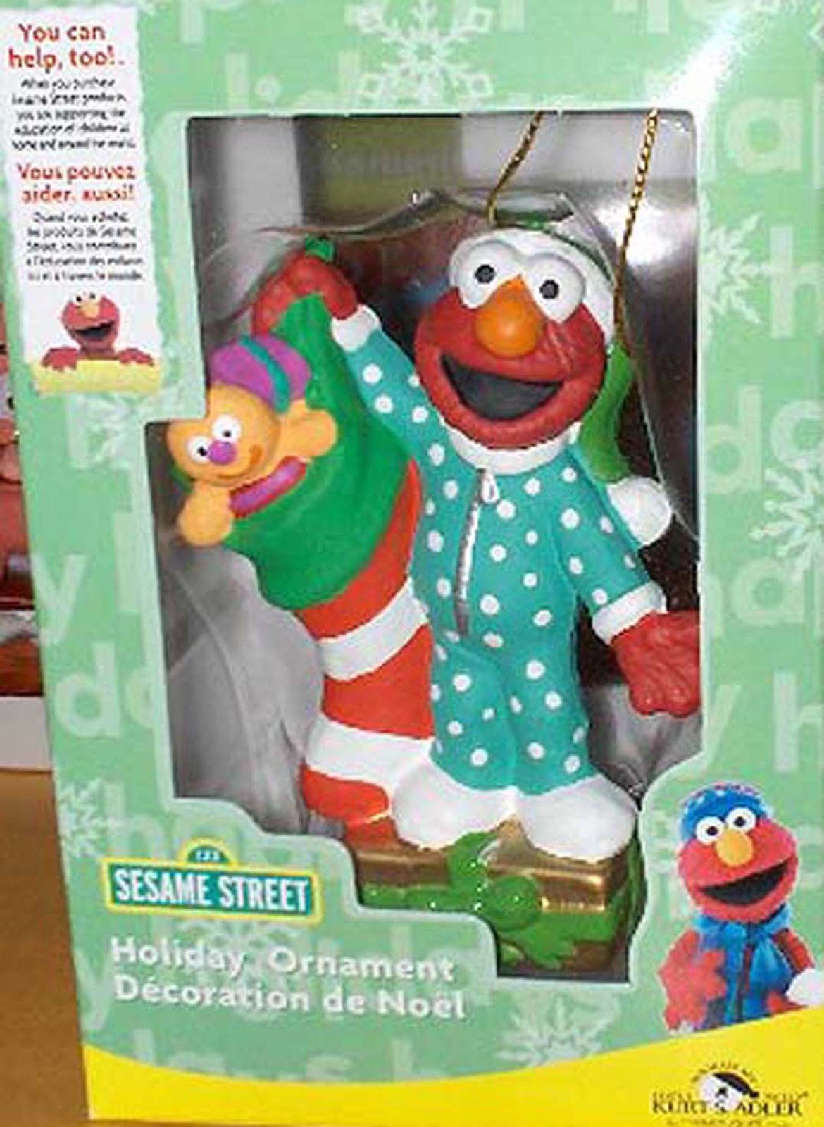 Primary image for ELMO WITH STOCKING & TOYS CHRISTMAS TREE ORNAMENT MINT IN BOX. SESAME ST MUPPET