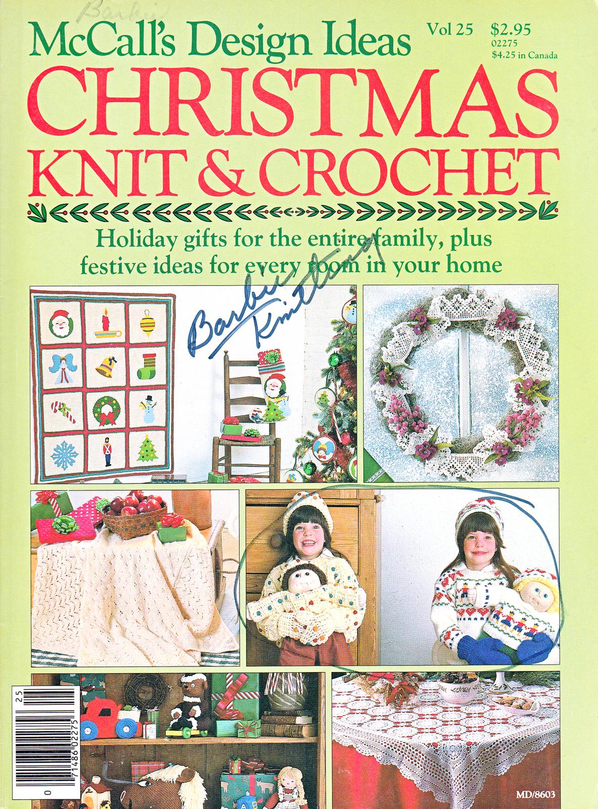 1986 MCCALLS CHRISTMAS KNIT CROCHET CPK BARBIE NUTCRACKER DOLL ORNAMENTS AFGHAN - $12.98