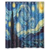 Starry Night Vincent Van Gogh Shower Curtain Waterproof Made From Polyester - $31.26+