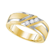 10k Yellow Gold Mens Round Diamond Wedding Anniversary Band Ring 1/4 Cttw - £734.98 GBP