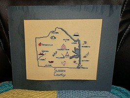 Completed 9.5 X 7.5 Sussex County Delaware Towns Map Hand Made Needlepoint - $6.00