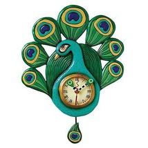 Allen Designs Pretty Peacock Pendulum Childs Kids Whimsical Wall Clock - $54.00