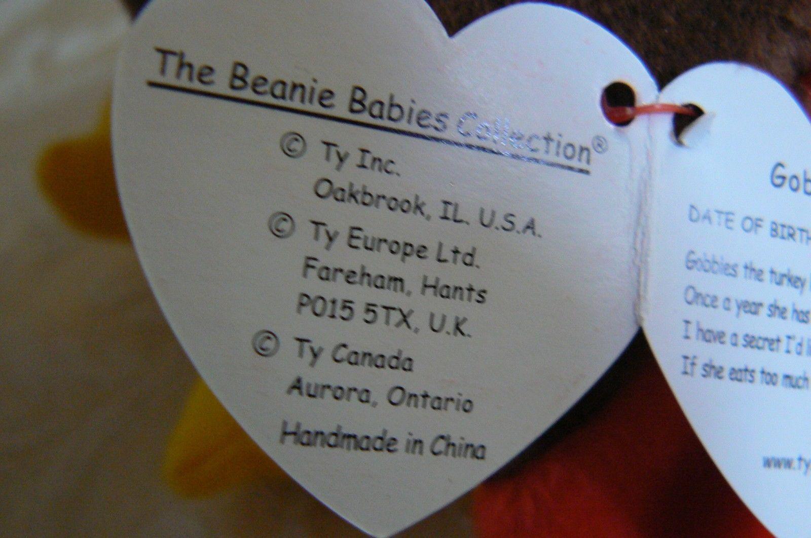 "Rare Ty Original Beanie Babies ""Gobbles"" The Turkey/Retired Errors Mint image 8"
