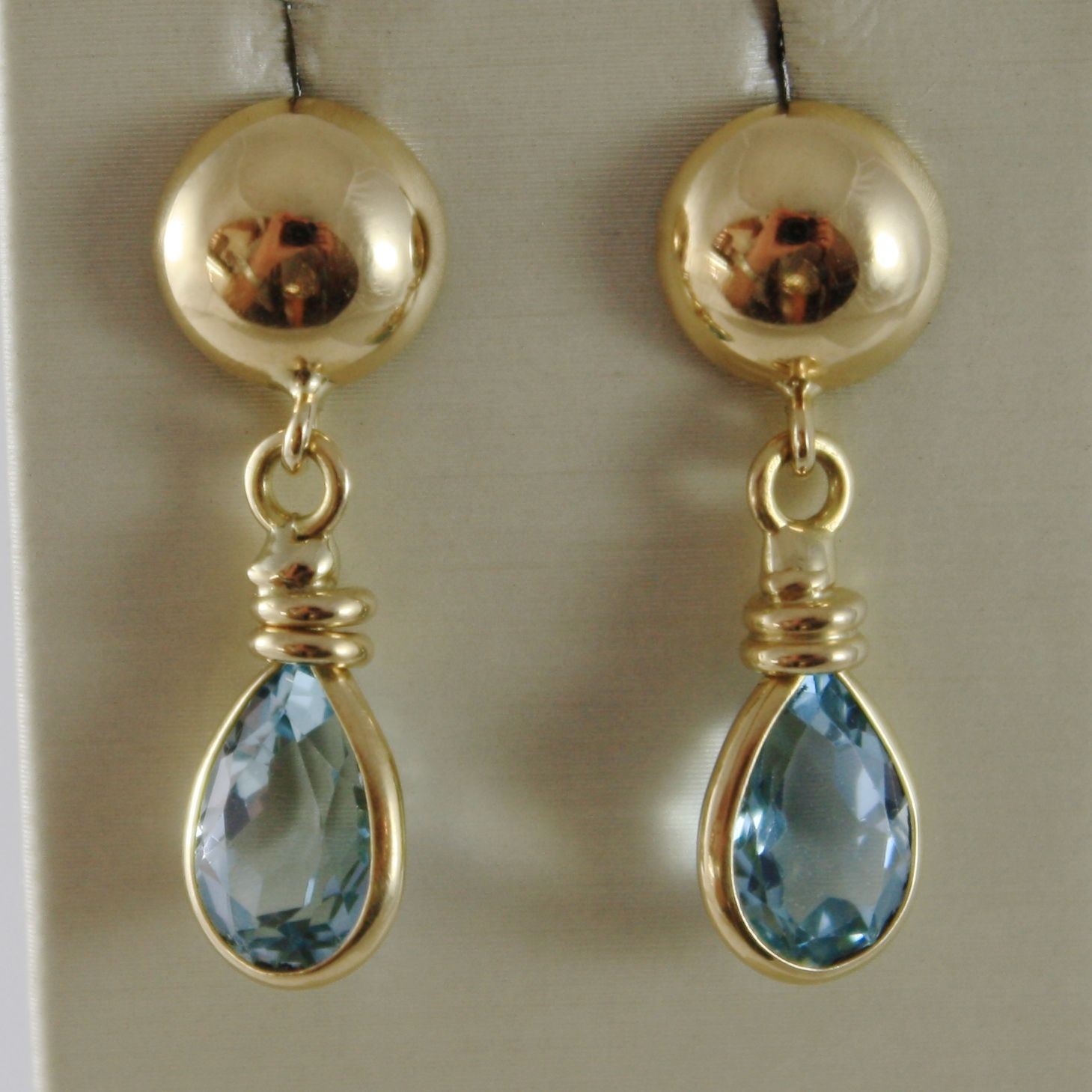 SOLID 18K YELLOW GOLD 27 MM LONG EARRINGS WITH DROP BLUE TOPAZ, MADE IN ITALY