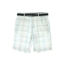 Alfani Red Slim Fit Plaid Bright White Shorts 32 - $24.74