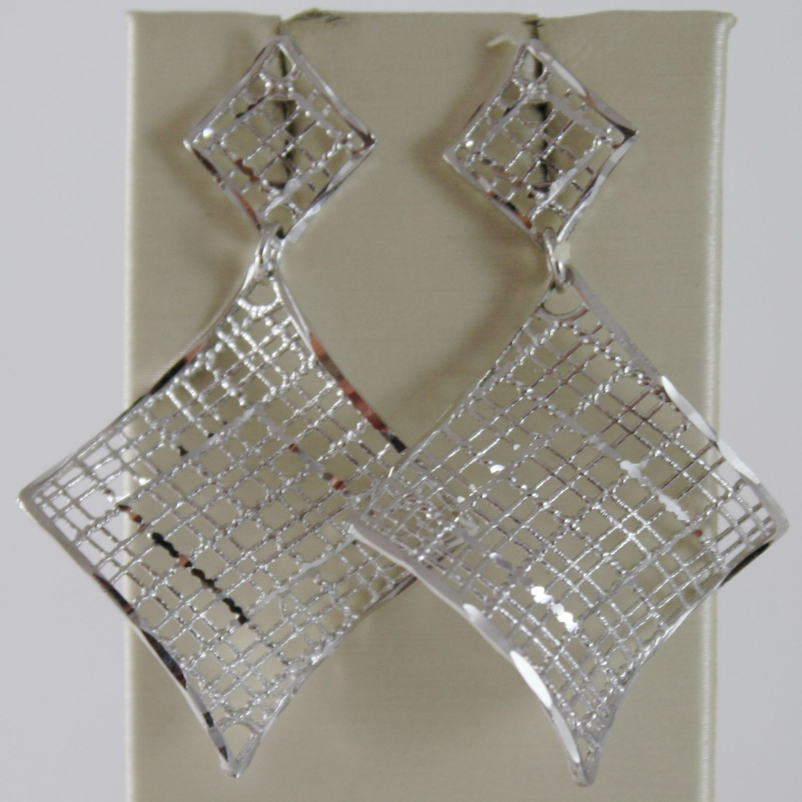 18K WHITE GOLD PENDANT EARRINGS FINELY WORKED DOUBLE ONDULATE WAVE MADE IN ITALY
